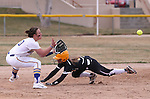 Western Nevada College's Makaylee Jaussi tags out College of Southern Idaho's Amanda Sheets on her attempt to steal second during a college softball game at Edmonds Sports Complex in Carson City, Nev., on Friday, Feb. 27, 2015. CSI won the opener 11-2. <br /> Photo by Cathleen Allison/Nevada Photo Source
