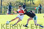 Padraig Nagle Kilcummin gets in his shot under pressure from Peader Keane Listry during their East Kerry Championship clash in Kilcummin on Saturday