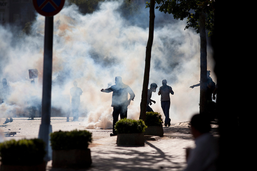 ISTANBUL, TURKEY-- Police shoot tear gas at protesters on Saturday, June 1, 2013 near Istanbul Technical University, not far from Gezi Park, where protesters and police have clashed over recent days. PHOTO BY JODI HILTON
