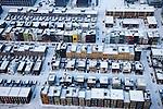 Nederland, Amsterdam, IJburg, 07-01-2010; Steigereiland, winter tafereel. De verschillende huizen zijn ontworpen en/pf gebouw door de bewoners zelf.<br /> Steiger Island in the snow, winter scene on IJburg. The various houses have been build and or designed by the inhabitants themselves.<br /> luchtfoto (toeslag), aerial photo (additional fee required)<br /> foto/photo Siebe Swart