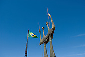 Brasilia, Brazil. The Two Warriors (Os Guerreiros, Os Candangos), by artist Bruno Giorgi, 1961. The statue is a monument to the workers who built Brasilia. Praca dos Tres Poderes (Three Powers Square).