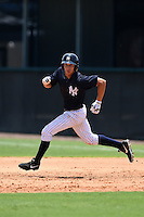 GCL Yankees 1 outfielder Dominic Jose (93) running the bases during the first game of a doubleheader against the GCL Braves on July 1, 2014 at the Yankees Minor League Complex in Tampa, Florida.  GCL Yankees 1 defeated the GCL Braves 7-1.  (Mike Janes/Four Seam Images)