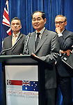 Singapore Trade Minister Lim Hng Kiang speaks at a press conference with Australian Trade Minister Craig Emerson (L) and Foreign Minister Bob Carr (R) at Parliament House Canberra, Monday September 10th 2012. AFP PHOTO / Mark GRAHAM