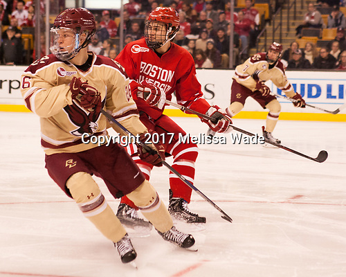 Julius Mattila (BC - 26), Chad Krys (BU - 5) - The Boston University Terriers defeated the Boston College Eagles 3-1 in their opening Beanpot game on Monday, February 6, 2017, at TD Garden in Boston, Massachusetts.