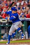 6 October 2017: Chicago Cubs second baseman Javier Baez in action during the first game of the NLDS against the Washington Nationals at Nationals Park in Washington, DC. The Cubs shut out the Nationals 3-0 to take a 1-0 lead in their best of five Postseason series. Mandatory Credit: Ed Wolfstein Photo *** RAW (NEF) Image File Available ***
