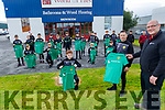 Stephen Griffin (Manager) of The World of Tiles in Manor sponsoring the Kerry FC U13 League of Ireland team, presents the jersey to Eoin O'Mahoney on Saturday.