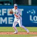 29 July 2018: Vermont Lake Monsters infielder Max Schuemann in action against the Batavia Muckdogs at Centennial Field in Burlington, Vermont. The Lake Monsters defeated the Muck Dogs 4-1 in NY Penn League action. Mandatory Credit: Ed Wolfstein Photo *** RAW (NEF) Image File Available ***