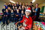 Megan Gillespie a pupil at Scoil Mhuire, Killorglin who is performing on the Late Late toy show pictured with her classmates and teacher Orlaith Reidy.