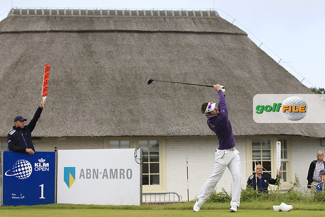 Jbe Kruger (RSA) on the 1st tee during Round 4 of the KLM Open at Kennemer Golf &amp; Country Club on Sunday 14th September 2014.<br /> Picture:  Thos Caffrey / www.golffile.ie