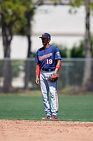 Minnesota Twins shortstop Wander Javier (19) during a Minor League Spring Training game against the Tampa Bay Rays on March 15, 2018 at CenturyLink Sports Complex in Fort Myers, Florida.  (Mike Janes/Four Seam Images)