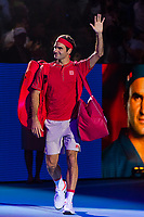 27th October 2019; St. Jakobshalle, Basel, Switzerland; ATP World Tour Tennis, Swiss Indoors Final; Roger Federer (SUI) enters the court before the match against Alex de Minaur (AUS) - Editorial Use