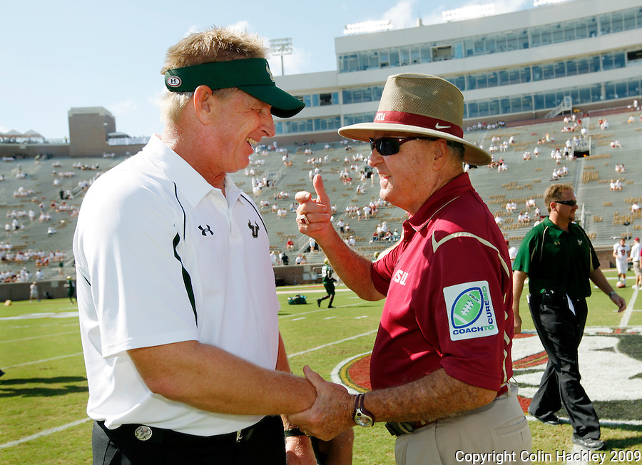 TALLAHASSEE, FL 9/26/09-FSU-USF FB09 CH01-Florida State Head Coach Bobby Bowden, right, greets South Florida Head Coach Jim Leavitt prior to the game Saturday at Doak Campbell Stadium in Tallahassee. ..COLIN HACKLEY PHOTO