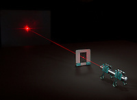 DIFFRACTION OF LASER LIGHT ON SINGLE HUMAN HAIR.A Laser is Used to Determine Width of Human Hair..A laser pointer is used to project a laser beam that is diffracted around a single human hair mounted to a cardboard frame. Both the laser pointer and the frame that holds the laser are supported by binder clips.