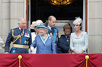 Prince Charles, Camilla Duchess of Cornwall, HM The Queen Elizabeth II, Prince William, Prince Harry, Catherine Duchess of Cambridge<br /> The Royal Family watch RAF centenary fly-past at Buckingham Palace, The Mall, London, England on July 10, 2018.<br /> CAP/GOL<br /> &copy;GOL/Capital Pictures