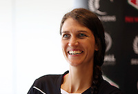 10.12.2015 Silver Ferns Anna Harrison at a press conference  today in Auckland. Mandatory Photo Credit ©Michael Bradley.