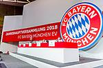 30.11.2018, Audi Dome, Muenchen, GER, FC Bayern Jahreshauptversammlung 2018, im Bild feature Schild Jahreshauptversammlung <br /> <br /> Foto &copy; nordphoto / Straubmeier