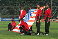 American Flag is presented. Spain defeated the U.S. Under-17 Men National Team  2-1 at Sani Abacha Stadium in Kano, Nigeria on October 26, 2009.