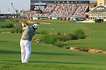 Francesco Molinari plays his 2nd shot on the 18th hole during the Final Day of the Dubai World Championship, Earth Course, Jumeirah Golf Estates, Dubai, 28th November 2010..(Picture Eoin Clarke/www.golffile.ie)