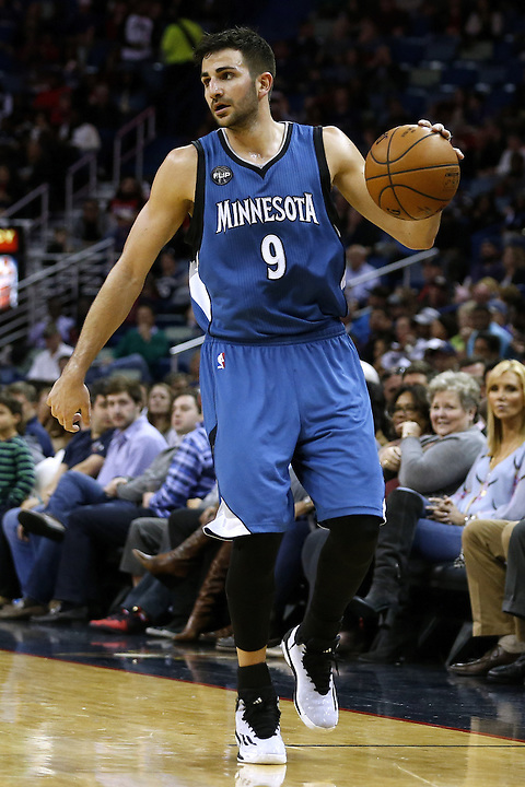 Minnesota Timberwolves guard Ricky Rubio (9) drives with the ball during the second half of an NBA basketball game Saturday, Feb. 27, 2016, in New Orleans. The Timberwolves won 112-110. (AP Photo/Jonathan Bachman)