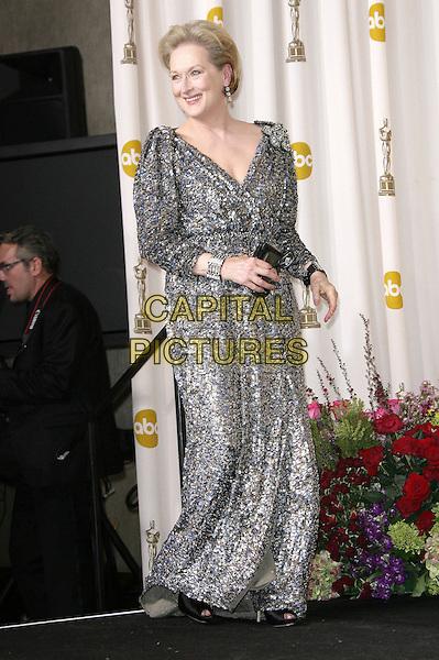 Meryl Streep.85th Annual Academy Awards held at the Dolby Theatre at Hollywood & Highland Center, Hollywood, California, USA..February 24th, 2013.pressroom oscars full length silver grey gray beads beaded dress.CAP/ADM.©AdMedia/Capital Pictures.
