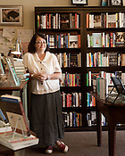 August 7, 2013. Hillsborough, North Carolina.<br />  Owner Sharon Wheeler.<br />  Purple Crow Books is a recent addition to the Triangle's independent book store selection, and a favorite among local authors.