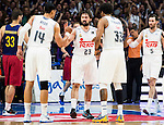 Real Madrid's player Gustavo Ayon, Sergio Llull, Thompkins and Rudy Fernandez during Liga Endesa 2015/2016 Finals 4th leg match at Barclaycard Center in Madrid. June 20, 2016. (ALTERPHOTOS/BorjaB.Hojas)