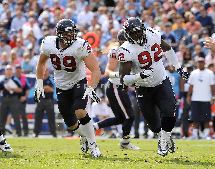 EARL MITCHELL, of the Houston Texans, in action during the Texans game against the Tennessee Titans on October 23, 2011 at LP Field in Nashville, TN. The Texans beat the Titans 41-7.