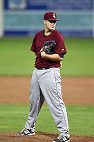 Mahoning Valley Scrappers pitcher Casey Shane (4) delivers a pitch during a game against the Batavia Muckdogs on August 23, 2014 at Dwyer Stadium in Batavia, New York.  Mahoning Valley defeated Batavia 5-1.  (Mike Janes/Four Seam Images)