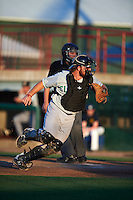 Clinton LumberKings catcher Adam Martin (27) looks for a passed ball during a game against the Burlington Bees on August 20, 2015 at Community Field in Burlington, Iowa.  Burlington defeated Clinton 3-2.  (Mike Janes/Four Seam Images)