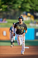 Michael Hermosillo (5) of the Salt Lake Bees during the game against the Reno Aces at Smith's Ballpark on June 26, 2019 in Salt Lake City, Utah. The Aces defeated the Bees 6-4. (Stephen Smith/Four Seam Images)