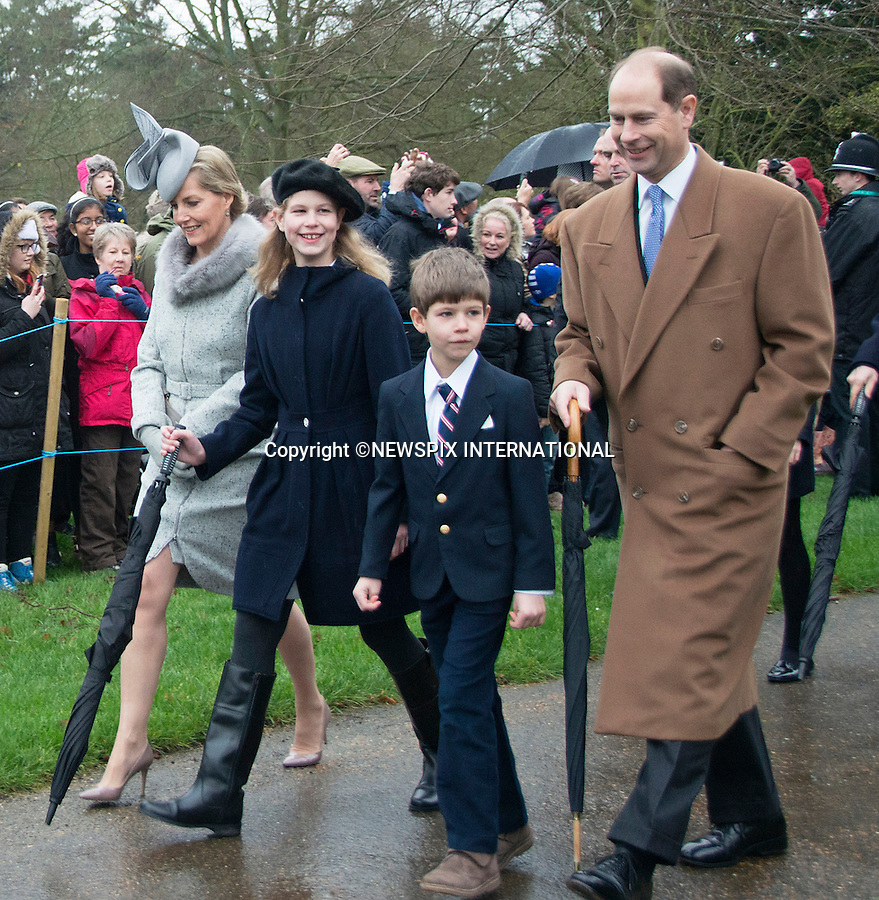 25.12.2015, Sandringham; UK: SOPHIE WESSEX, PRINCE EDWARD, LADY LOUISE AND JAMES<br /> joined other members of the Royal Family at the Christmas Day Church Service at St. Mary Magdalene's on the Sandringham Estate.<br /> Royals in attendance included the Queen, Prince Philip, Prince Charles, Camilla, Prince Andrew, Princesses Beatrice and Eugenie, Princes William and Harry, Princess Anne, Tim Laurence,The Linleys and The Chattos<br /> MANDATORY PHOTO CREDIT: &copy;AvantImage/NEWSPIX INTERNATIONAL<br /> <br /> (Failure to credit will incur a surcharge of 100% of reproduction fees)<br /> <br /> Newspix International, 31 Chinnery Hill, Bishop's Stortford, ENGLAND CM23 3PS<br /> Tel:+441279 324672<br /> Fax: +441279656877<br /> Mobile:  07775681153<br /> e-mail: info@newspixinternational.co.uk<br /> All Fees Payable To Newspix International