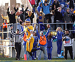 BROOKINGS, SD - OCTOBER 26:  Brandon Hubert #23 from South Dakota State University scores the winning touchdown against Northern Iowa in double overtime in their game Saturday afternoon at Coughlin Alumni Stadium in Brookings. (Photo by Dave Eggen/Inertia)