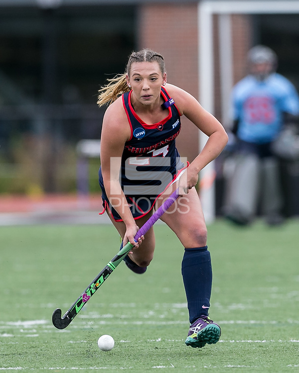 Easton, Massachusetts - November 20, 2016: NCAA Division II Field Hockey Championship final. Shippensburg University (blue) defeated LIU Post (white), 2-1, on Coughlin Memorial Field, in W.B. Mason Stadium at Stonehill College.