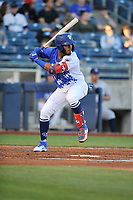Tulsa Drillers third baseman Cristian Santana (23) inaction against the Corpus Christi Hooks at Oneok Stadium on May 4, 2019 in Tulsa, Oklahoma.  The Hooks won 9-7.  (Dennis Hubbard/Four Seam Images)