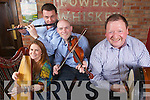 Suzanne Quille, John McNulty, Dennis Curtin and John Foley get ready for the launch of the annual Abbeyfeale Fleadh by the Feale over the May bank holiday weekend pictured here last Thursday night in Murphy's Bar, Abbeyfeale.
