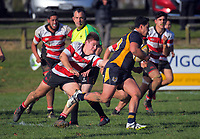 Action from the Waikato premier B club rugby match between Hautapu and Otorohanga Sports at Memorial Park in Cambridge, New Zealand on Saturday, 8 June 2019. Photo: Dave Lintott / lintottphoto.co.nz
