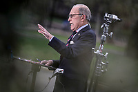 Director of the National Economic Council Larry Kudlow participates in a TV interview at the White House in Washington, DC on March 24, 2020.<br /> Credit: Oliver Contreras / Pool via CNP/AdMedia