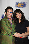 """Michael Mayer (director) & Carla Gugino at the Opening Night party of Signature Theatre Company's """"The Illusion"""" on June 5, 2001 at the West Bank Cafe with the play at the Peter Norton Space, New York City, New York.  (Photo by Sue Coflin/Max Photos)"""