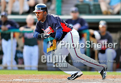 8 March 2011: Atlanta Braves outfielder Jose Constanza in action during a Spring Training game against the New York Yankees at Champion Park in Orlando, Florida. The Yankees edged out the Braves 5-4 in Grapefruit League action. Mandatory Credit: Ed Wolfstein Photo