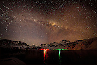BNPS.co.uk (01202 558833).Pic: SamanthaCrimmin/BNPS..***Please Use Full Byline***..Milky Way above Grytviken church in South Georgia...A British Doctors braved freezing conditions to capture unique pictures of the night sky from the tiny British island of South Georgia in the remote South Atlantic...Amateur photographer Samantha Crimmin's stunning photos of the sky at night over South Georgia have left locals so star-struck they have been turned into stamps...Dr Samantha Crimmin was working as an emergency medic for the British Antartic Survey team when she took the celestial images in her spare time...Dr Crimmin used long exposures and plenty of patience to create the incredible shots that show star trails in a perfect circular motion...Her gallery of photos depict the night sky above different locations on the tiny outpost in the south Atlantic...They include one above the Harker Glacier - named after British geologist Alfred Harker - and over the wrecks of two Norwegian whaling ships at Grytviken.