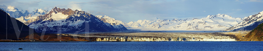 Panoramic of Miles Glacier and Mile Lake, Chugach National Forest, near Cordova, Alaska.