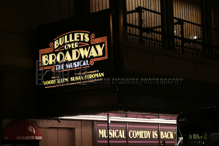 "Theatre Marquee for the Broadway Opening Night Performance Curtain Call for ''Bullets Over Broadway'""at the St. James Theatre on April 10, 2014 in New York City."