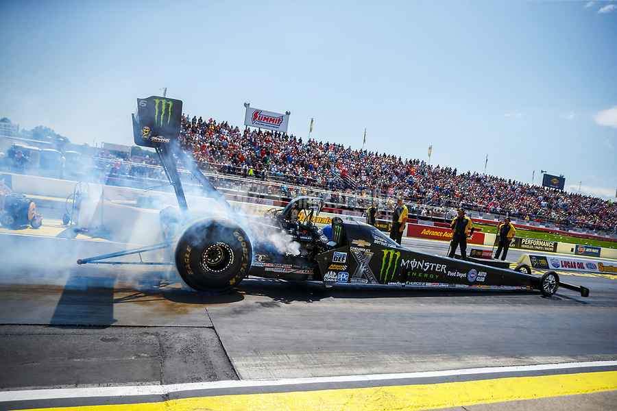 May 6, 2017; Commerce, GA, USA; NHRA top fuel driver Brittany Force during qualifying for the Southern Nationals at Atlanta Dragway. Mandatory Credit: Mark J. Rebilas-USA TODAY Sports