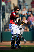 Billings Mustangs catcher Valentin Martinez (46) during a Pioneer League game against the Grand Junction Rockies at Dehler Park on August 15, 2019 in Billings, Montana. Billings defeated Grand Junction 11-2. (Zachary Lucy/Four Seam Images)