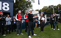 Matthew Fitzpatrick (ENG) waits to receive his trophy for winning the Final Round of the British Masters 2015 supported by SkySports played on the Marquess Course at Woburn Golf Club, Little Brickhill, Milton Keynes, England.  11/10/2015. Picture: Golffile | David Lloyd<br /> <br /> All photos usage must carry mandatory copyright credit (© Golffile | David Lloyd)
