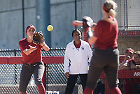 NWA Democrat-Gazette/CHARLIE KAIJO An Arkansas Razorbacks first baseman catches a pass during a softball match, Sunday, October 28, 2018 at Bogle Park, University of Arkansas in Fayetteville.<br />