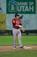 Billings Mustangs center fielder Drew Mount (8) stands on second base after hitting a double during a Pioneer League game against the Ogden Raptors at Lindquist Field on August 17, 2018 in Ogden, Utah. The Billings Mustangs defeated the Ogden Raptors by a score of 6-3. (Zachary Lucy/Four Seam Images)