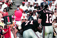 Chris Miller, #12, Atlanta Falcons, Atlanta Falcons at Tampa Bay Buccaneers.  The Bucs beat the Falcons 23-17  at Tampa Stadium on December 2, 1990, Tampa, Florida.  (Photo by Brian Cleary/bcpix.com)