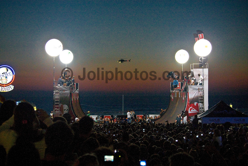 HOSSEGOR, FRANCE, Saturday September 20, 2008. As part of the Quiksilver Pro France 2008  at Hossegor TONY HAWK (USA)  and friends took part in the Tony Hawk Skate Show on the beach front at Hossegor in front of thousands of fans. Photo: joliphotos.com