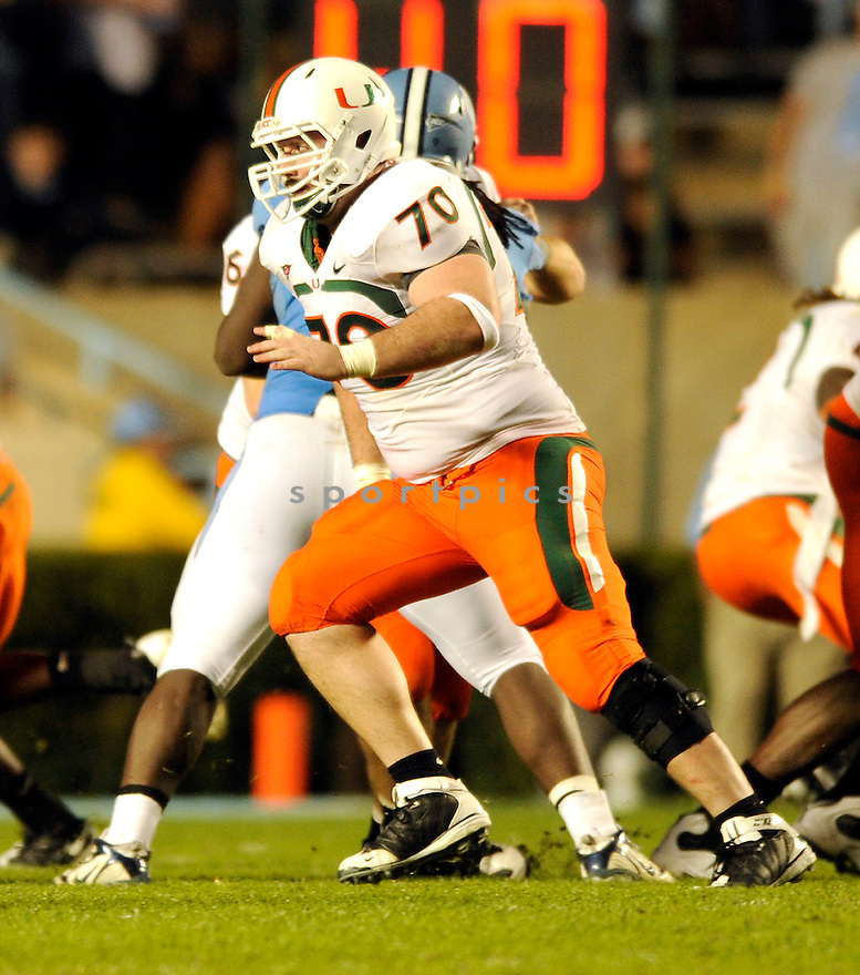 A.J. TRUMP, of the Miami Hurricanes, in action during the Hurricanes game against the North Carolina Tarheels on November 14, 2009 in Chapel Hill, NC. North Carolina won 33-24.